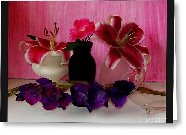 Gladiolas Digital Art Greeting Cards - Four Flowers Greeting Card by Marsha Heiken