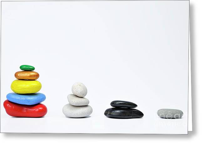 Large Scale Greeting Cards - Four growing stacks of multi-colored pebbles Greeting Card by Sami Sarkis