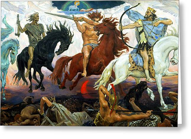 Vasnetsov Greeting Cards - Four Horsemen of the Apocalypse Greeting Card by Victor Vasnetsov