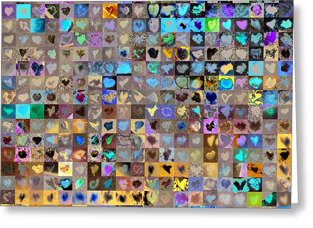 Mosaic Greeting Cards - Four Hundred and One Hearts Greeting Card by Boy Sees Hearts