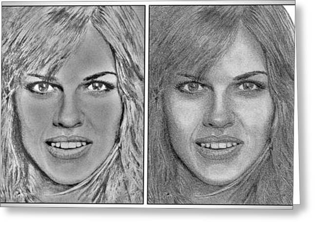 Movie Art Greeting Cards - Four Interpretations of Hilary Swank Greeting Card by J McCombie