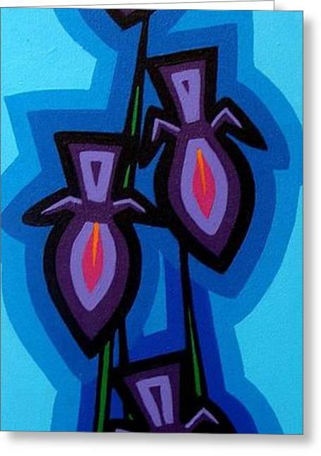 Warhol Paintings Greeting Cards - Four Irises Greeting Card by John  Nolan