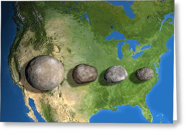 Large Scale Greeting Cards - Four Largest Asteroids, Scale Artwork Greeting Card by Chris Butler