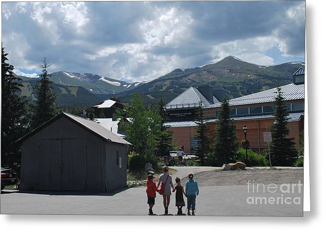Heather Kirk Greeting Cards - Four Little Children Safe in a Big Beautiful World Telluride Colorado Greeting Card by Heather Kirk