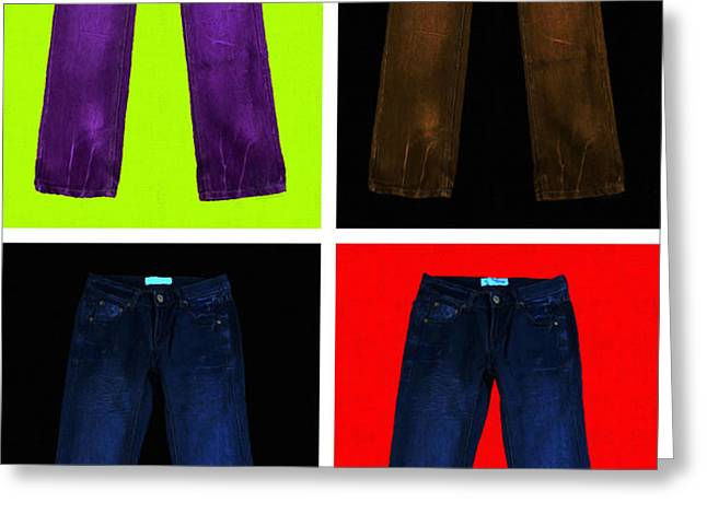 Four Pairs of Blue Jeans - Painterly Greeting Card by Wingsdomain Art and Photography