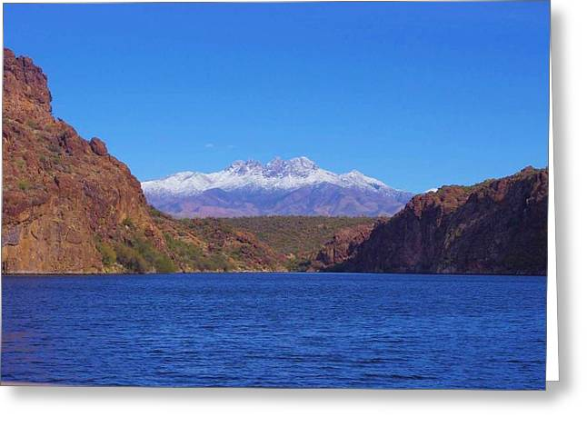 David Rizzo Greeting Cards - Four Peaks in winter Greeting Card by David Rizzo