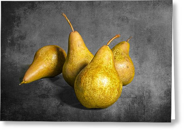 Pear Art Greeting Cards - Four Pears on Gray Greeting Card by Randall Nyhof