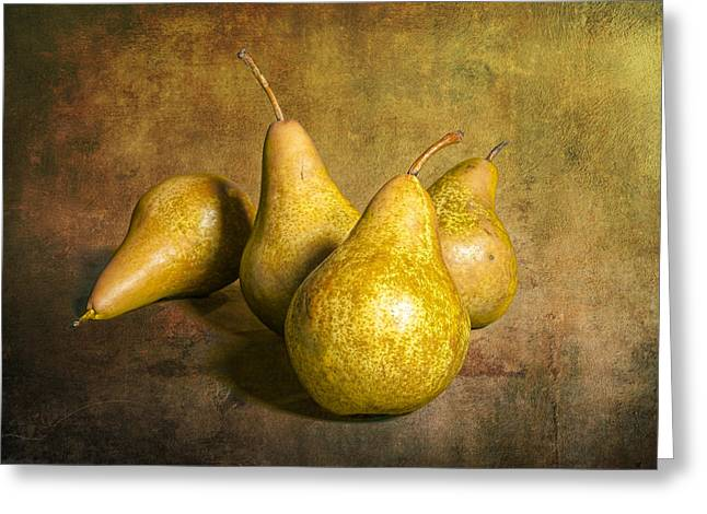Pear Art Greeting Cards - Four Pears on warm amber background Greeting Card by Randall Nyhof