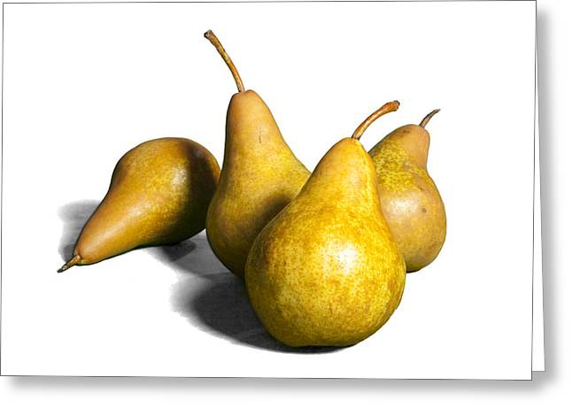 Pear Art Greeting Cards - Four Pears on White Greeting Card by Randall Nyhof