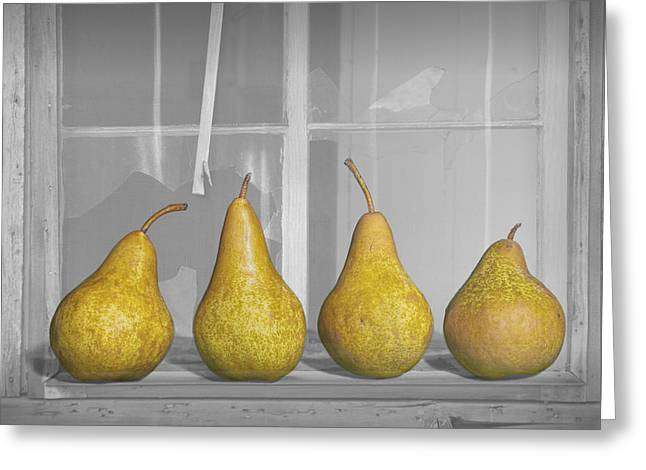 Pear Art Greeting Cards - Four Pears on windowsill Greeting Card by Randall Nyhof