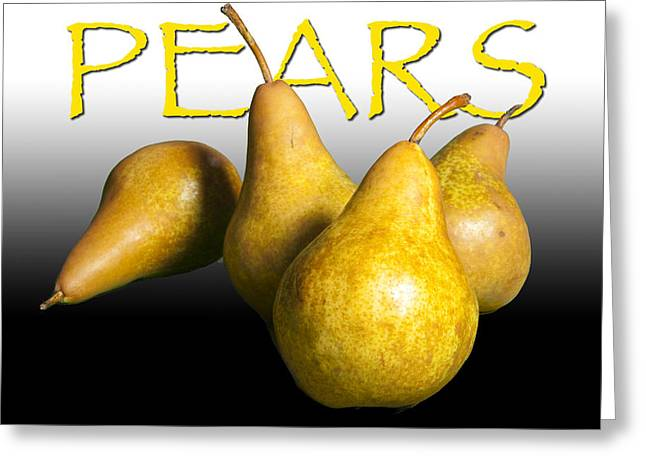 Pear Art Greeting Cards - Four Pears with Yellow Lettering Greeting Card by Randall Nyhof
