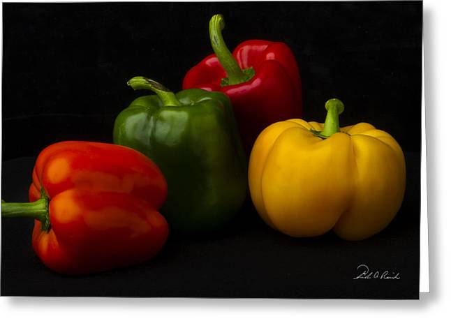 Four Peppers Greeting Card by Frederic A Reinecke
