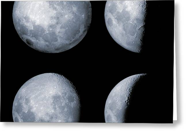 Four Phases Of The Moon Greeting Card by Rolf Geissinger
