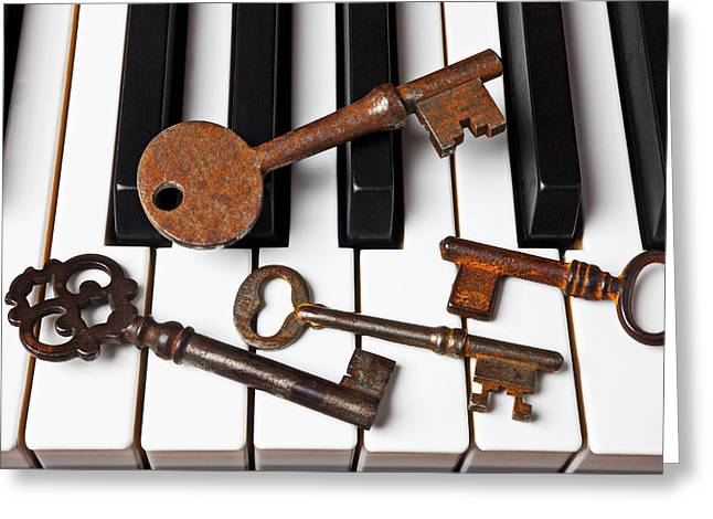 Playing Musical Instruments Greeting Cards - Four skeleton keys Greeting Card by Garry Gay