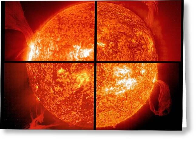 Quartet Greeting Cards - Four Solar Prominences, Composite Image Greeting Card by Solar & Heliospheric Observatory consortium (ESA & NASA)