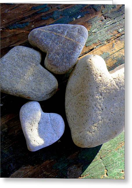 Lainie Wrightson Greeting Cards - Four Stone Hearts Greeting Card by Lainie Wrightson