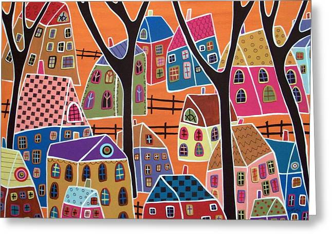 For Sale Greeting Cards - Four Trees And Houses On Orange Greeting Card by Karla Gerard