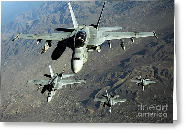 Operation Iraqi Freedom Greeting Cards - Four U.s. Navy Fa-18 Hornet Aircraft Greeting Card by Stocktrek Images