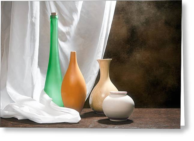 Opalescent Greeting Cards - Four Vases I Greeting Card by Tom Mc Nemar