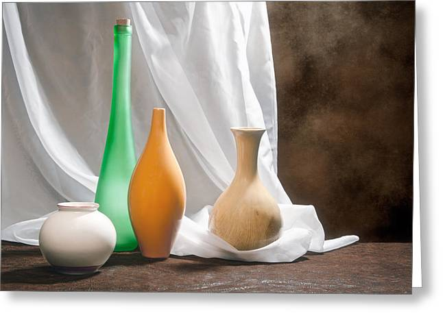 Opalescent Greeting Cards - Four Vases II Greeting Card by Tom Mc Nemar