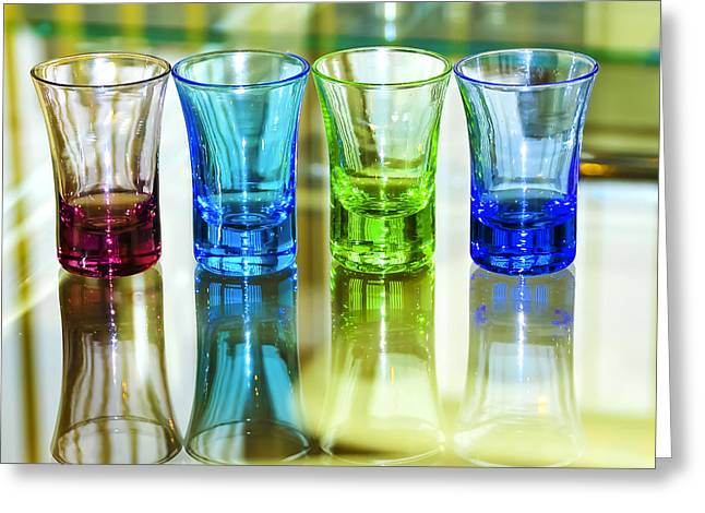Gathering Greeting Cards - Four Vodka Glasses Greeting Card by Svetlana Sewell