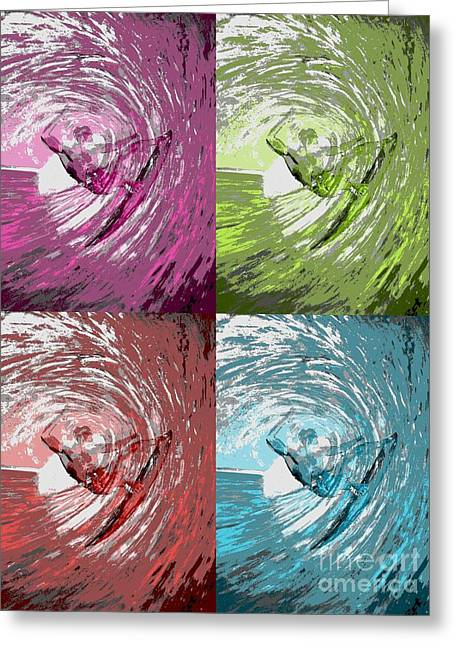 Kelly Slater Greeting Cards - Four waves Greeting Card by RJ Aguilar