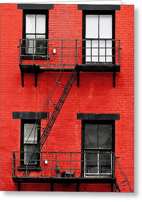 Ohio Red Greeting Cards - Four Windows Greeting Card by Keith Allen