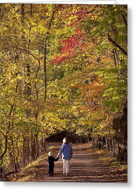Family With One Child Greeting Cards - Four Year Old Boy And His Mom Walk Hand Greeting Card by Skip Brown