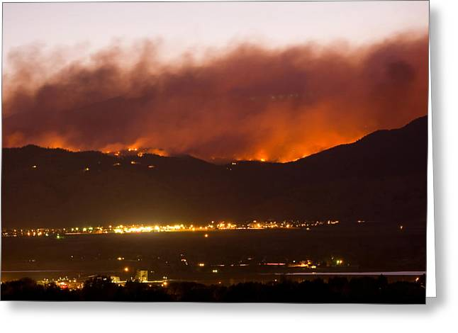 Wildfires Greeting Cards - Fourmile Canyon Fire Burning Above North Boulder Greeting Card by James BO  Insogna