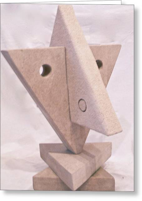 Carver Sculptures Greeting Cards - Fourth Chakra Anahata Heart Left Detail Greeting Card by Frank Pasquill