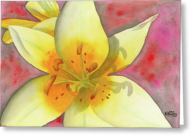 Stamen Paintings Greeting Cards - Fourth of July Flower Greeting Card by Ken Powers