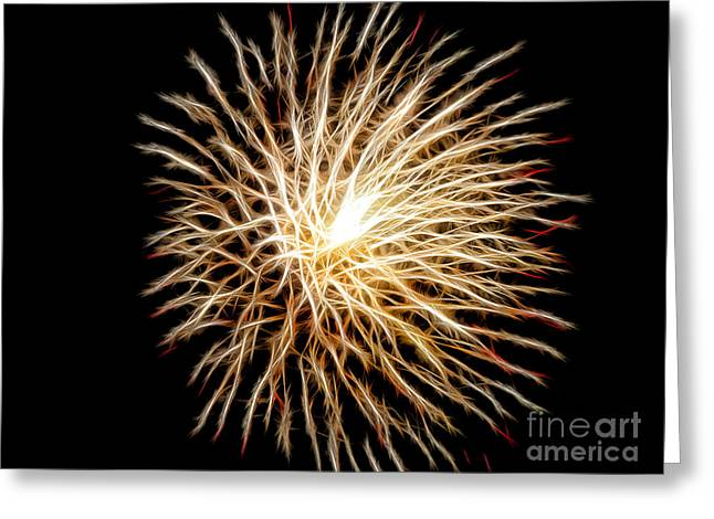 Pyrotechnics Greeting Cards - Fourth of July Greeting Card by Mariola Bitner