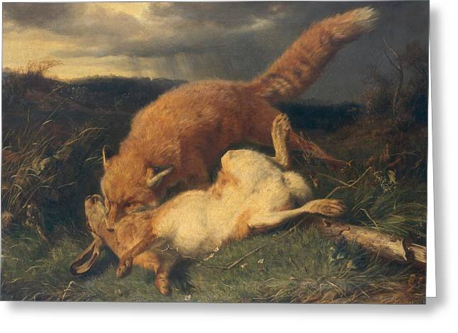 Wild-caught Greeting Cards - Fox and Hare Greeting Card by Johann Baptist Hofner