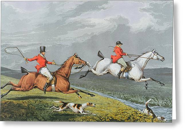 Best Sellers -  - Coloured Greeting Cards - Fox Hunting - Full Cry Greeting Card by Charles Bentley