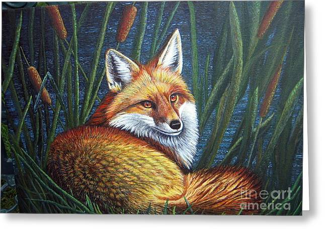 Terri Waters Paintings Greeting Cards - Fox in Cat Tails Greeting Card by Terri Maddin-Miller