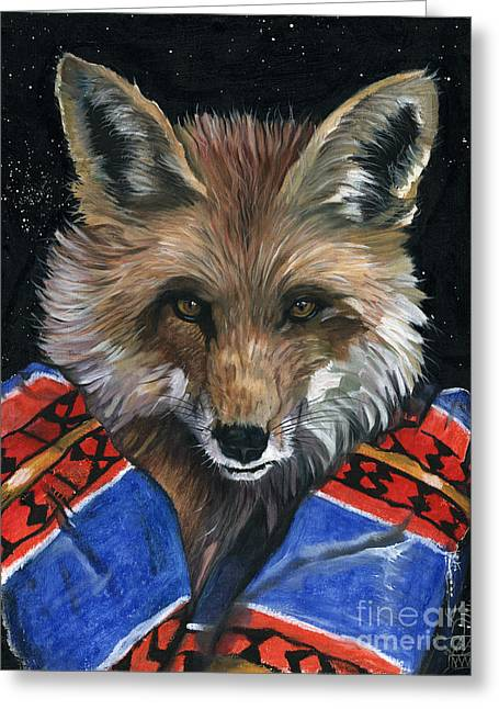 Shamanism Greeting Cards - Fox Medicine Greeting Card by J W Baker