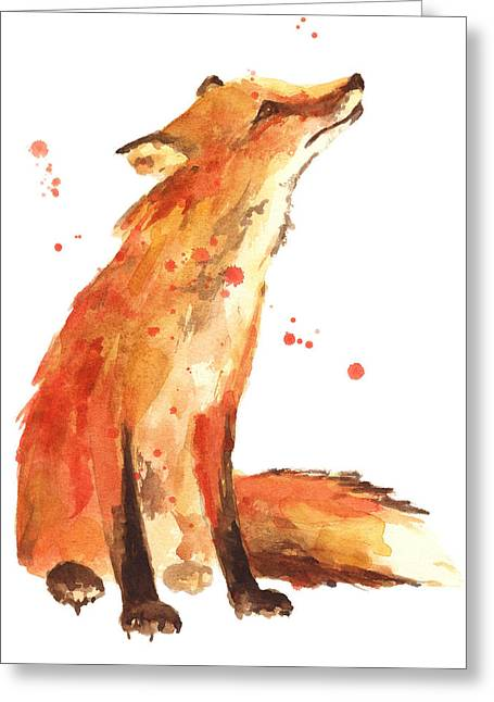 Watercolour Paintings Greeting Cards - Fox Painting - Print from Original Greeting Card by Alison Fennell
