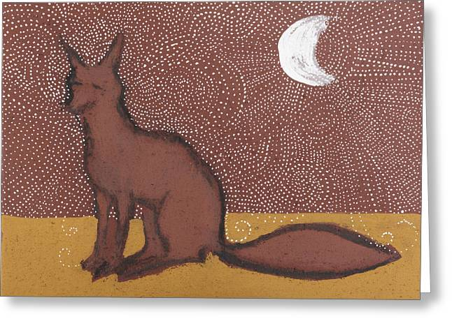 Iron Oxide Greeting Cards - Fox sitting in the Moonlight Greeting Card by Sophy White