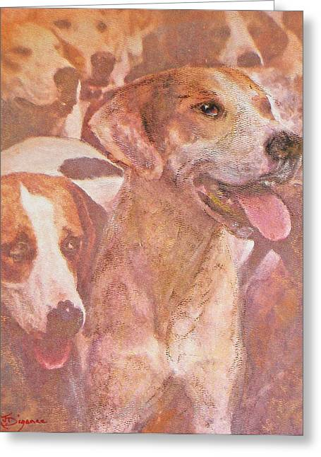 Hound Pastels Greeting Cards - FOXHOUND DUO and friends Greeting Card by Richard James Digance