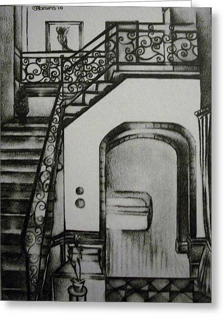 Interior Still Life Drawings Greeting Cards - Foyer Architectural Rendering Greeting Card by Stacey Abrams