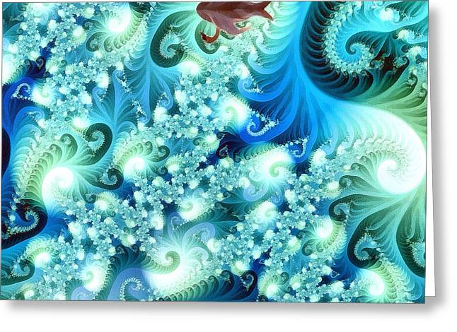 Wildlife Celebration Paintings Greeting Cards - Fractal and swan Greeting Card by Odon Czintos