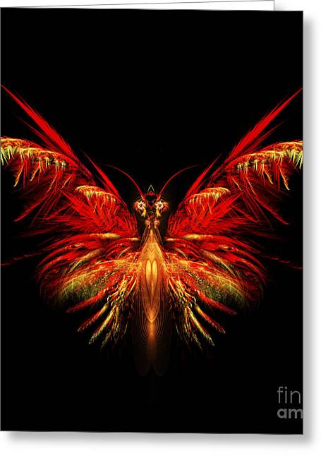 Apophysis Digital Art Greeting Cards - Fractal Butterfly Greeting Card by John Edwards