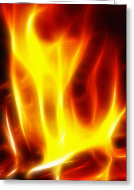 On Fire Mixed Media Greeting Cards - Fractal Fire Greeting Card by Steve Ohlsen