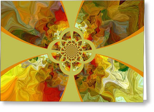 Tangerine Greeting Cards - Fractal Floral Greeting Card by Bonnie Bruno