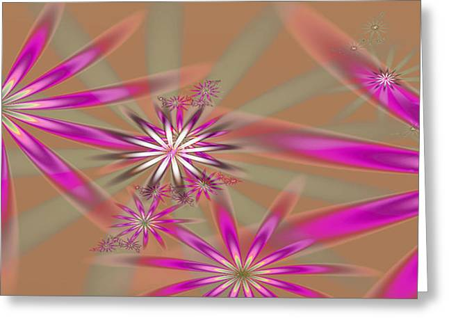 Fractal Flowers Greeting Card by Gina Lee Manley