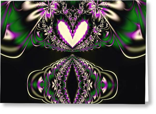 Manley Greeting Cards - Fractal Kaleidoscope Heart Greeting Card by Gina Lee Manley