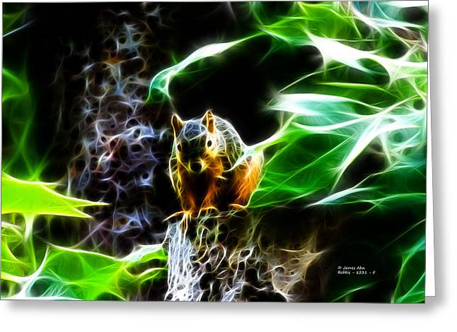Fractal - Sitting On A Stump - Robbie The Squirrel - 2831 Greeting Card by James Ahn