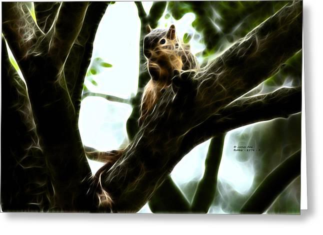 Fractal - Thumb Sucker - Robbie The Squirrel - 8574 Greeting Card by James Ahn