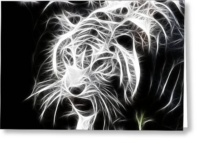 Tiger Fractal Greeting Cards - Fractal Tiger Greeting Card by Sheri Bartay