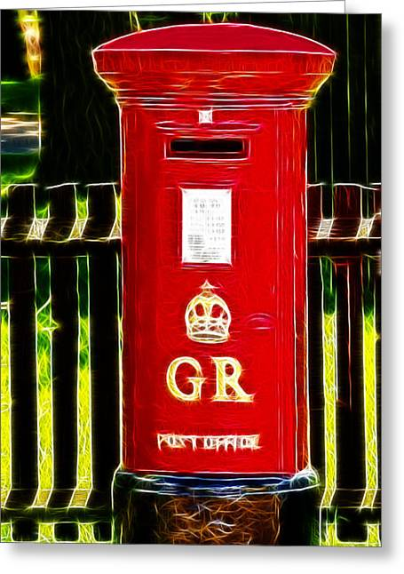 Pillar Box Greeting Cards - Fractalius Pillar Box Greeting Card by Chris Thaxter